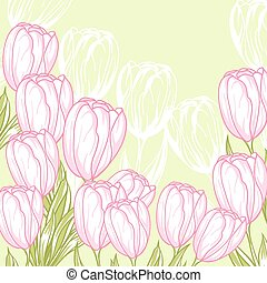 Spring floral background with pink tulips. Vector card