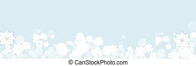 Spring Floral Banner Background Design with White Flat Style Elegant Flowers