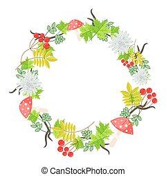 Spring floral bouquet wreath vector.
