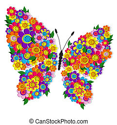 Spring floral butterfly