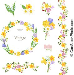 spring floral collection. seamless border and cute wreath for yo