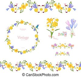 spring floral collection. seamless border and cute wreath, pre