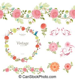 spring floral collection with chrysanthemum. seamless border an