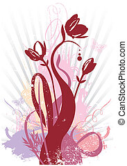 Spring floral grunge vector illustration with all parts...