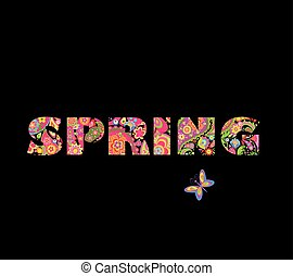 Spring floral lettering on black background