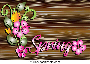 Spring floral on wooden table background template