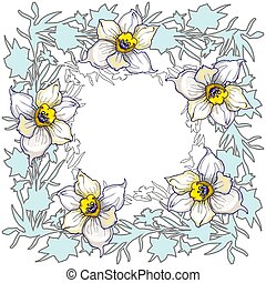 Spring floral round frame with hand drawn flowers Daffodils