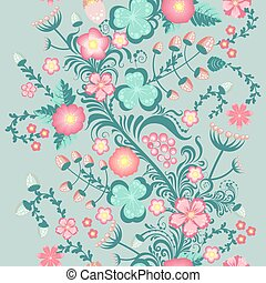 Spring floral seamless pattern in soft pastel colors
