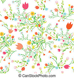 Spring floral seamless pattern with tulips and chamomile