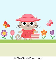 Spring flower background with kitty