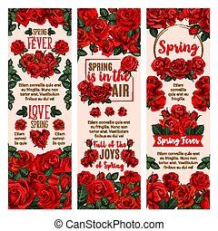 Spring flower banner with red rose floral wreath