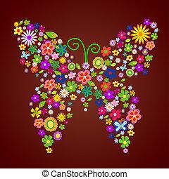 spring flower butterfly illustration