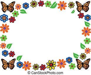 spring flower butterfly vector illustration