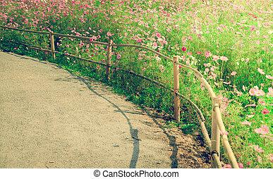 spring flower garden with gaden path ,process on vintage style