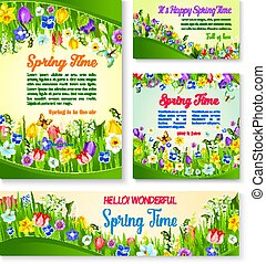 Spring flower greeting card and banner template - Spring...