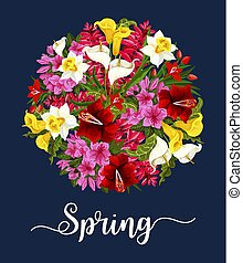 Spring flower greeting card with floral bouquet