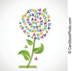 Spring flower of butterflies logo