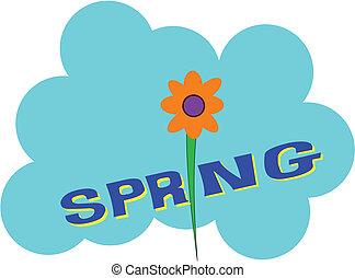 spring flower on blue cloud background