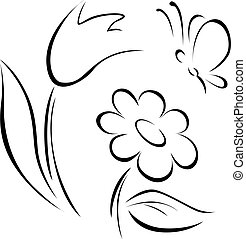 spring flower outline on white background