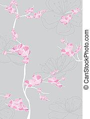 spring flower pattern on gray background