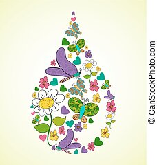 Colorful Spring flowers raindrop shape. Vector illustration layered for easy manipulation and custom coloring.