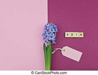 Spring flower, tag and text sale