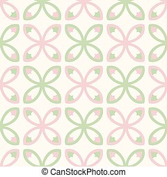 Spring Flower Tile Style Seamless Vector Pattern. Hand Drawn Geometric Floral