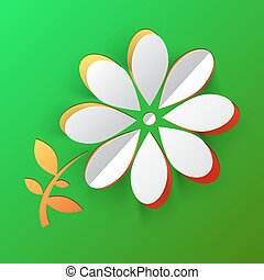 Spring Flower. Vector Paper Cut Abstract Flower on Green Background.
