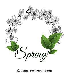 spring flower wreath leaves