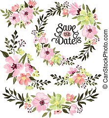 Spring Flower Wreath Vector Set