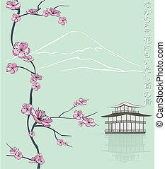 spring flowering branch with japanese haiku and tample