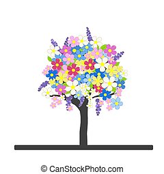 Spring flowering tree with colorful blossom