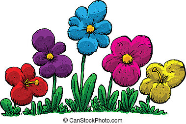 group of cartoon flowers vector illustration eps vectors search rh canstockphoto com flowers cartoon images free yellow flowers cartoon images