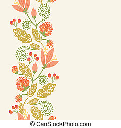 Spring flowers and berries vertical seamless pattern border