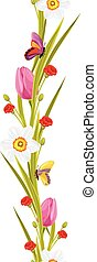 Spring flowers and butterflies isolated on the white. Vector illustration