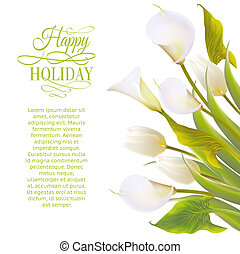 Spring flowers backround with text lettering. Vector...