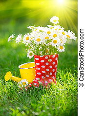 Spring flowers - Beautiful bunch of spring flowers in red...