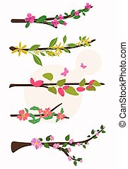 Spring Flowers Branches Vector