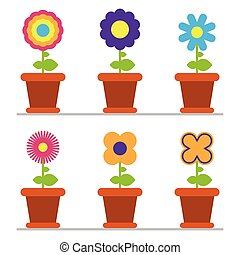 Spring flowers collection vector illustration isolated on white background