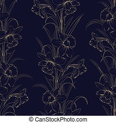 Spring flowers fabric seamless pattern on dark blue background.