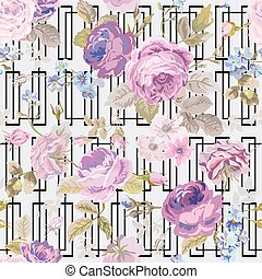 Spring Flowers Geometry Background - Seamless Floral Shabby Chic Pattern - in vector