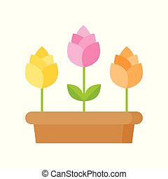 Spring flowers icon isolated on white background vector illustration