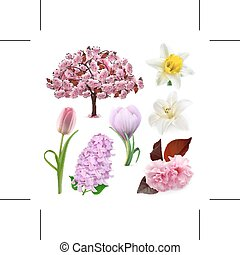 Spring flowers icons