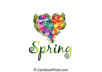 Spring flowers in a heart