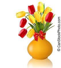 Spring flowers in a vase with a red bow and ribbons Easter...