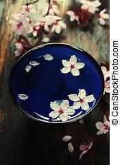 spring flowers in blue bowl