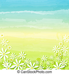 spring flowers in blue green background