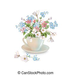 Spring Flowers in Cup
