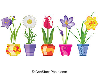 Spring Flowers In Pots, Isolated On White Background, Vector...