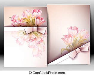 Spring flowers invitation template